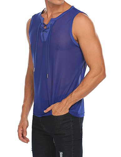 85fdb40f0dc COOFANDY Men s Mesh See Through V Neck Tank Tops Fishnet Sexy Sleeveless  Shirts Clubwear Party Vest