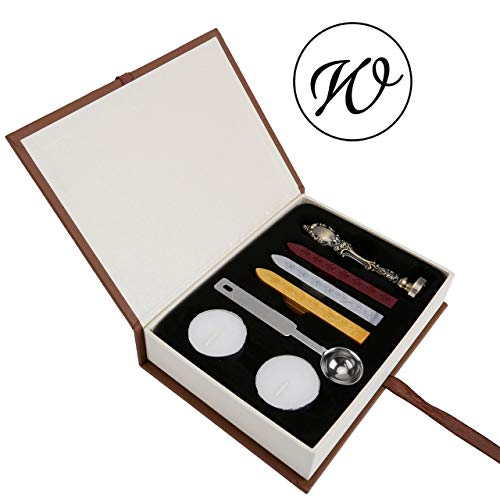(W Wax Seal Stamp Set, Yoption Classic Vintage Style Brass Color Antique Alphabet Initial Letter W Sealing Wax Stamp Set, Retro Seal Stamps Maker Gift Box Set, Ideal Gift)
