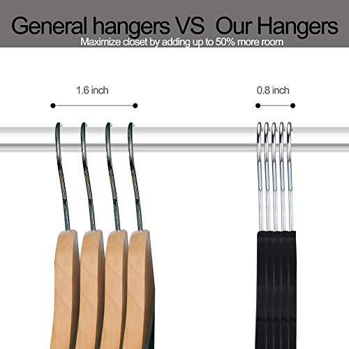 YIKALU Clothes Hangers with Clips 20 Pack Velvet Hangers Non Slip Hangers Premium Ultra Thin Pants Hangers Skirt Hangers with Swivel Hooks for Closet Black