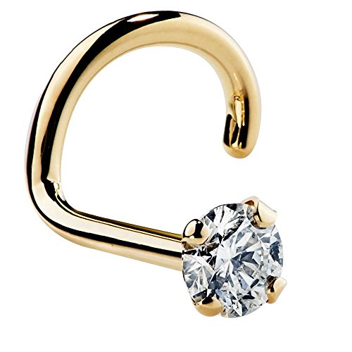 FreshTrends 20G 1.5mm 0.015 ct. tw Diamond 14K Yellow Gold Twist Screw Nose Ring I1