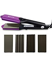 DSHOW 4 in 1 Hair Crimper Hair Waver Hair Straightener Curling iron with 4 Interchangeable Ceramics Flat Crimping Iron Plate, Purple