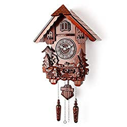 Polaris Clocks Cuckoo Clock in German Style with Night Mode Option (Brown, Water Mill-1)
