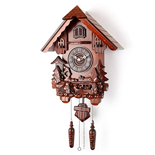 Polaris Clocks Cuckoo Clock in German Style with Night Mode Option (Brown, Water ()