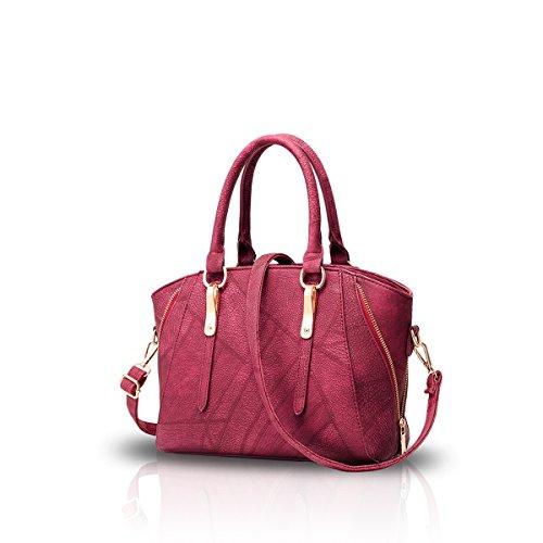 ee727c286 NICOLEDORIS Bolsos de mujer con estilo bolso de hombro bolso de hombro bolsa  de trabajo casual con cremallera de cremallera púrpura vino tinto