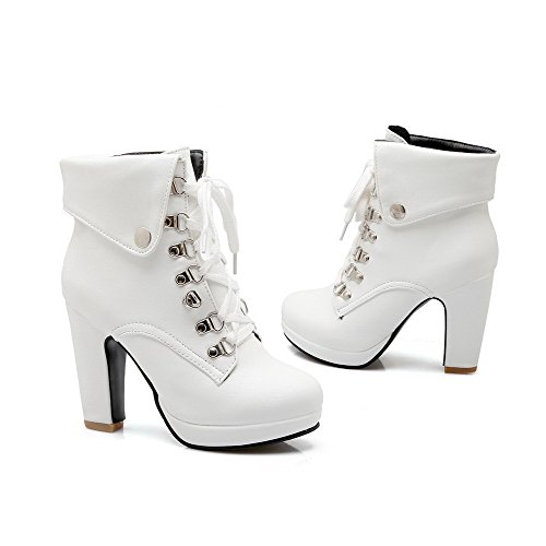 Allhqfashion Women's Lace up High Heels Pu Solid Round Closed Toe Boots White jrZicOstha