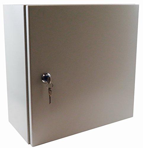 12 Wall Mount Nema - YuCo YC-16x12x8-UL-EL-2-KF Nema 4 Enclosure, IP66 16 Gauge Single Door Hinge Cover Wall-Mount, Standard Indoor/Outdoor, With Back Plate, Mounting Hardware, Lock and Key (16 x 12 x 8)