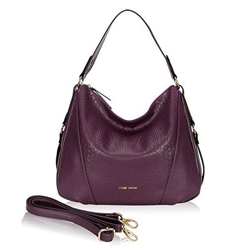Leather Woven Handbag (Hynes Victory Woven Pattern Hobo Bag Stylish Hobo Crossbody Bag for Lady Woman Purse Grape Purple)