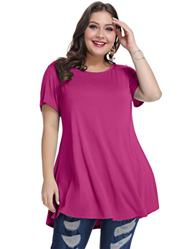 MONNURO Womens Short Sleeve Casual Loose Fit Flare
