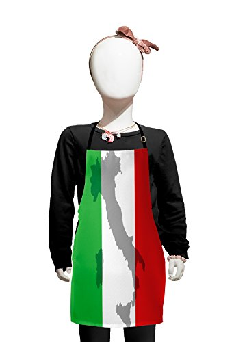 Lunarable Italian Flag Kids Apron, Map View of Italy Land Chart National Country Europe Culture, Boys Girls Apron Bib with Adjustable Ties for Baking Painting, Kids Size, Fern Green -