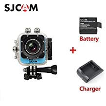 """Original SJCAM M10 WIFI 12MP 1080P Cube Mini Sports Action Camera 1.5"""" LCD 170 Degree Wide Lens Waterproof Diving Camcorder DV with Extra Battery Charger Blue"""