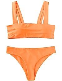 61623c630e Women's Wide Straps Padded Bandeau Bikini Set