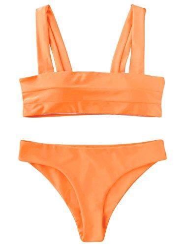 ZAFUL Women's Wide Straps Padded Bandeau Bikini Set Neon Orange S (Small Padded Bikini)