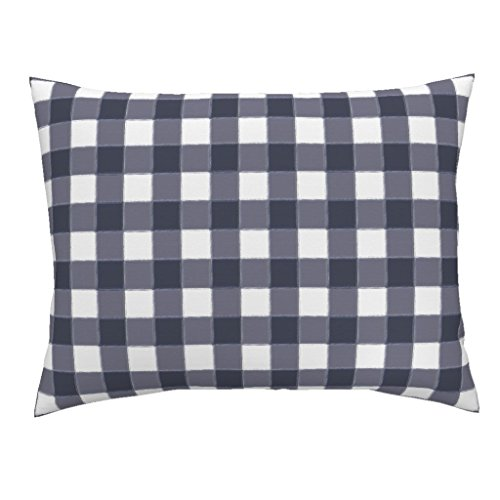 (Roostery Navy Blue Gingham Plaid Standard Knife Edge Pillow Sham Navy Gingham Navy Gingham Buffalo Check Navy Blue Watercolor Check Modern Woodland Blue Plaid by Sugarfresh 100% Cotton)