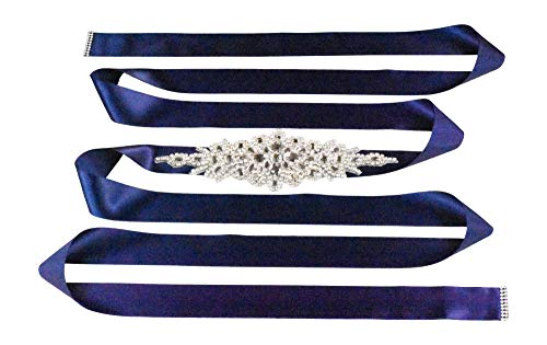 Mandala Crafts Bridal Sash Belt with Crystal Rhinestone Satin Ribbon for Wedding Gowns, Prom, Formal Dresses for Women (Plain Rhinestone, Navy Blue)
