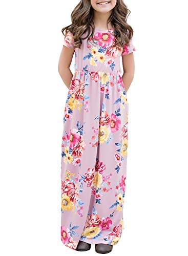 AlvaQ Girls Summer Short Sleeve Maxi Dress Floral Print Long Casual Dresses Size 8-9 Purple