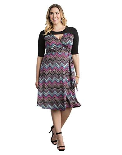 Kiyonna Women's Plus Size Winsome Wrap Dress 2X Pink Aztec Print