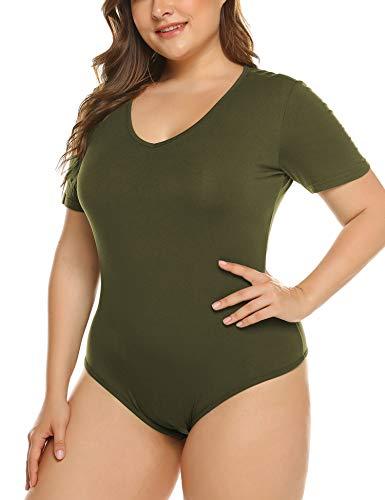IN'VOLAND Women's Bodysuit Plus Size Short Sleeve/Sleeveless Bodysuits Scoop/V Neck Leotards Basic Top T Shirt Bodycon]()