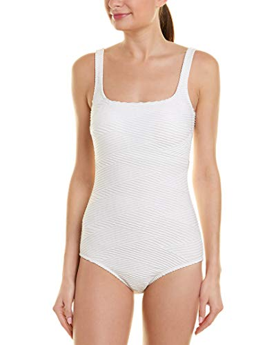 (Gottex Women's Extra Coverage Textured Square Neck One Piece Swimsuit, Essence White, 10)