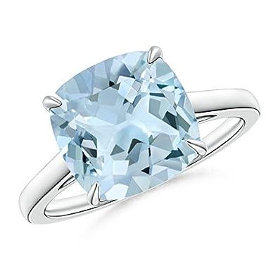 Angara Cushion Aquamarine Diamond Cocktail Ring in White Gold T6NAnaom