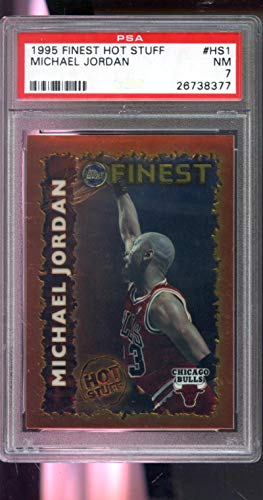 (1995-96 Topps Finest Hot Stuff #HS1 Michael Jordan Insert NBA NM PSA 7 Graded Basketball Card)