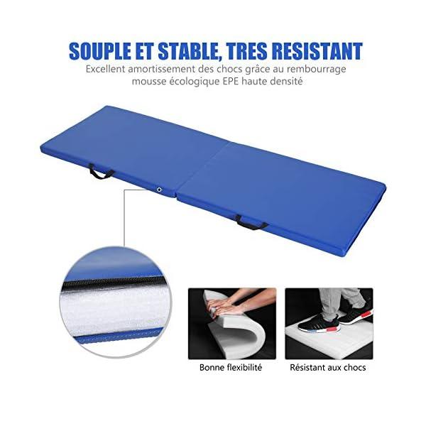 Homcom Tapis de Gymnastique Yoga Pilates Fitness Pliable Portable Grand Confort 180L x 60l x 5H cm Simili Cuir accessoires de fitness [tag]