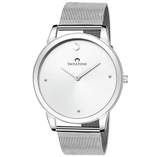 Swisstone SLIM110 SLV CH Slim Silver Chain Analog Wrist Watch for Men
