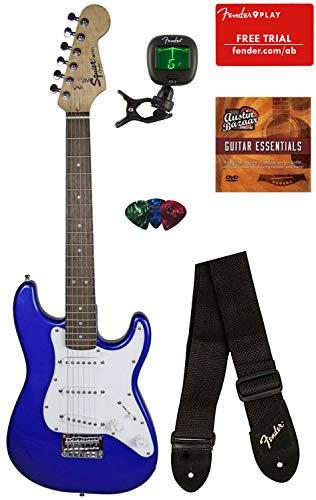 Squier by Fender Mini Strat Electric Guitar – Imperial Blue Bundle with Tuner, Strap, Picks, Fender Play Online Lessons, Austin Bazaar Instructional DVD, and Polishing Cloth