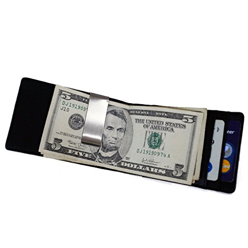 MAGIC TALE Genuine Leather Slim Minimalist Front Pocket Money Clip Wallet for Men with Card Holders,Black