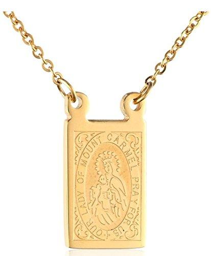 escapulario de la virgen del carmen. Jesús. 18K en capas Our Lady of Mount Carmel scapular (Mount Carmel Our Of Scapular Lady)
