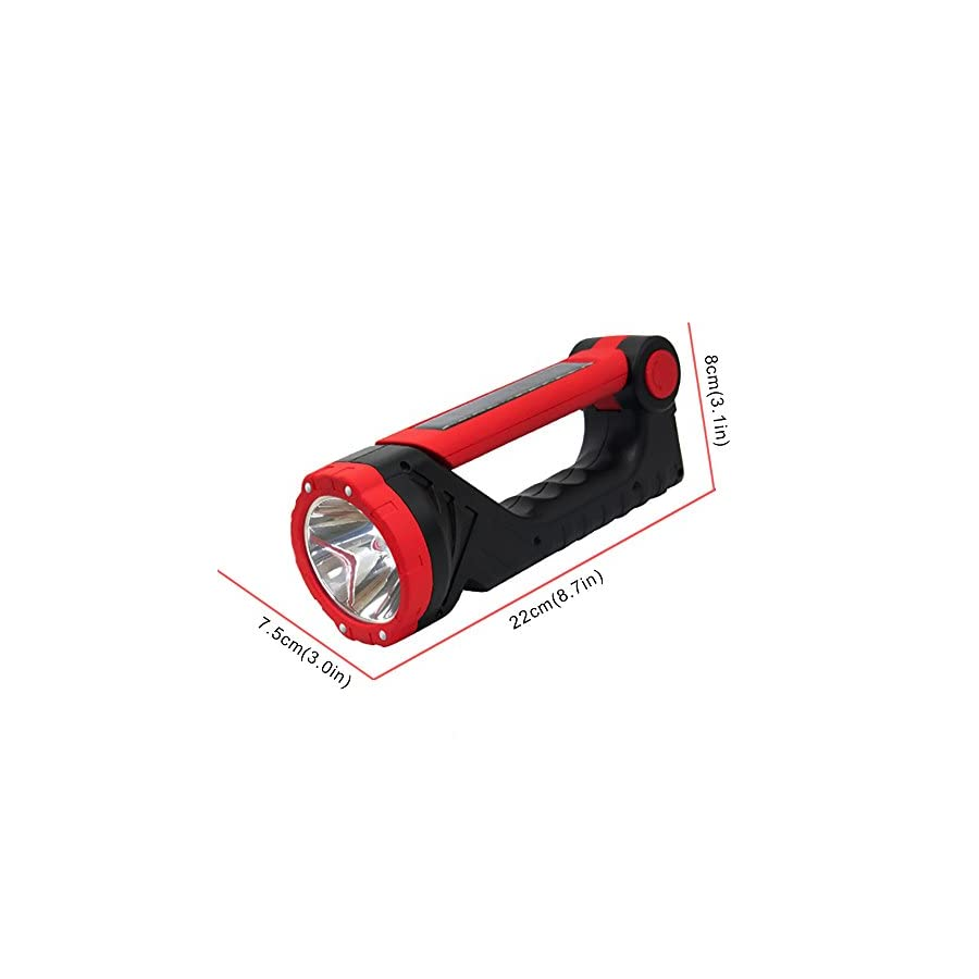 ACCTENIK Solar Flashlight High Lumens Rechargeable LED Flashlights Portable Handheld Torch and Table Lamp for Home Use, Camping, Patrol, Repairing,Emergency,Reading