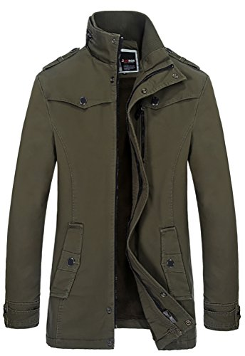 QZUnique Men's MD-Long Stand Collar Thicken Casual Trench Coat Army Green XL