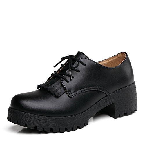 Mujeres de zapatos de tacón grueso de primavera/Zapatos retro Inglaterra/Zapatos de plataforma de cuero/Zapatos de borlas A