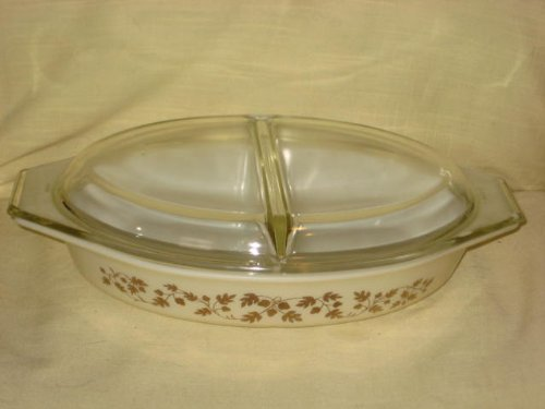 (Vintage Corning Pyrex 1960 GOLDEN ACORN 1 1/2 Quart Divided Cinderella Casserole Baking Dish w/ Clear)