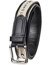 Tommy Hilfiger Cinturón de tela con incrustaciones de cinta para hombre con hebilla de una sola punta
