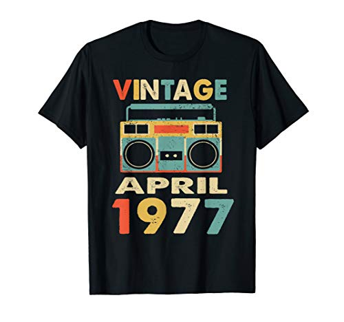 - Vintage April 1977 Tshirt Retro 42nd Birthday Gifts