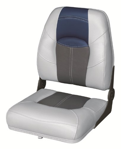 Back Boat Vinyl Seat (Wise 8WD1461-840 Blast-Off Tour Series Folding High Back Boat Seat (Grey/Charcoal/Navy))