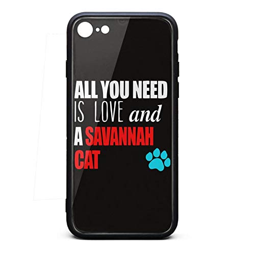 Custom Phone Case for Iphone7/8 You Need Love and Savannah Cat Rubber Frame Tempered Glass Covers Protective Anti-Scratch Skid-Proof Never Fade Mobile Cases Big Fancy