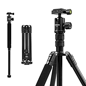Selens Aluminum Alloy 62'' Lightweight Camera Tripod with 360 Degree Panorama Ball Head Quick Release Plate for DSLR Camera Canon Nikon Sony with Carry Bag, Black