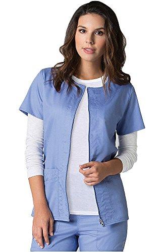 Maevn EON Back Mesh Panel Short Sleeve Zip Front Jacket (Large, Ceil Blue)