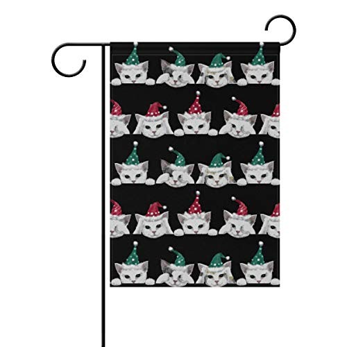 KGuanJi Christmas Cat 28x40 inches Garden Flag Seasonal Yard Banner Outdoor Decorative Large
