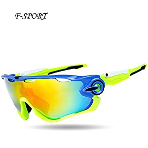 F-sport 2016 Newest Outdoor Sports Fashion Sunglasses.Great For Cycling Driving Hiking Skiing or Fishing.Changeable Lenses and Unbreakable High strength(Blue green)