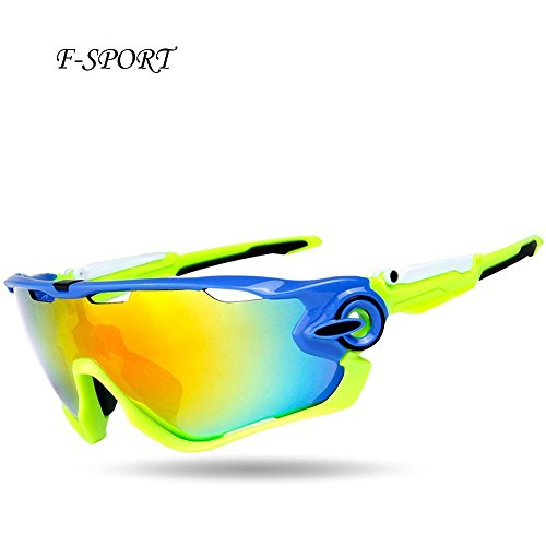 F-sport 2016 Newest Outdoor Sports Fashion Sunglasses.Great For Cycling Driving Hiking Skiing or Fishing.Changeable Lenses and Unbreakable High strength(Blue - Sunglasses Select How To