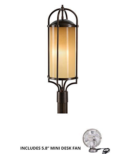 (Murray Feiss OL7607HTBZ, Dakota Outdoor Post Lighting, 180 Watts, Bronze (Includes Mini Desk Fan) )