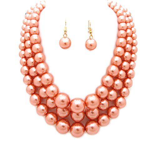 Fashion 21 Women's Three Multi-Strand Simulated Pearl Statement Necklace and Earrings Set (Peach)