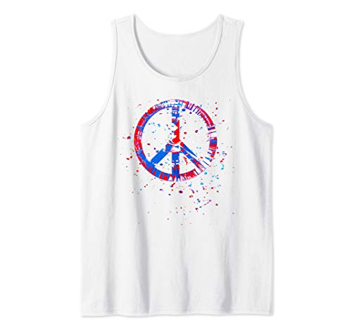 Hippie Tie Dye Peace Sign Red White Blue Patriotic Tank Top (Red White And Blue Tie Dye Tank Tops)