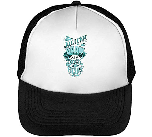 I Can Draw Is A Stick Figure Gorras Hombre Snapback Beisbol Negro Blanco