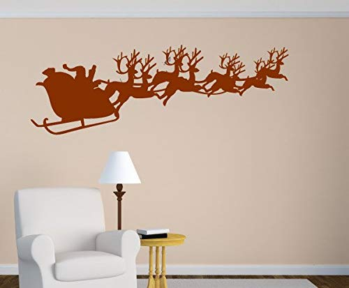 Classroom Sled - 659ParkerRob Santa Clause Sled with Reindeer Wall Decal Self Adhesive Vinyl Sticker Chirstams Decoration