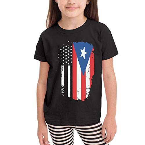 American Puerto Rico Flag Costume Kids Boys Girls O-Neck Short Sleeve Shirt T-Shirt for 2-6 Toddlers Black ()