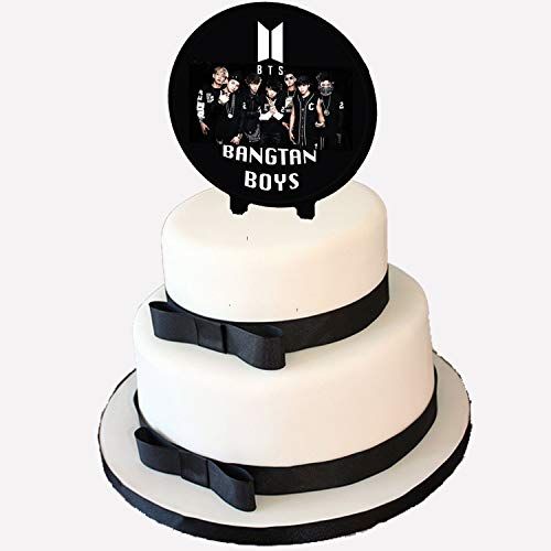 K pop Boy Band GROUP ARMY Vest Logo Cake Topper, 6 inch Round Circle 2 sided Centerpiece different images Kpop South Korean Boy Band Jin Suga J-Hope RM Jimin V Jungkook, 1 pc
