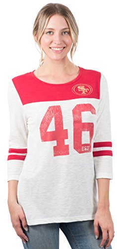 Icer Brands NFL San Francisco 49ers Women's T-Shirt Vintage 3/4 Long Sleeve Tee Shirt, Medium, ()